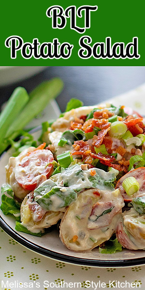 This tasty BLT Potato Salad features the best of potato salad and BLT fixings combining them into one satisfying dish #potatosalad #bltpotatosalad #potatoes #easypotatosaladrecipes #BLT #BLTrecipes #bacon #southernpotatosalad #salads #picnicsides