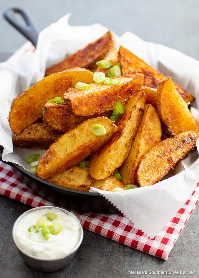 Crispy Baked Potato Wedges in a skillet