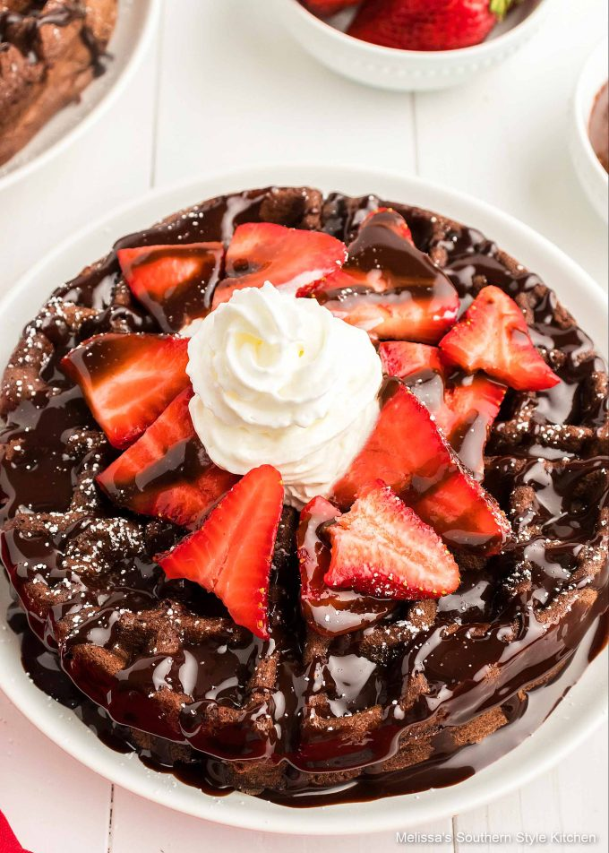 Double Chocolate Buttermilk Waffles with strawberries