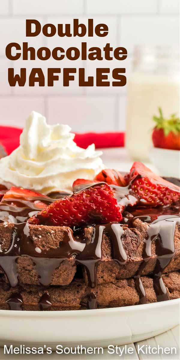 These Double Chocolate Buttermilk Waffles can be made for breakfast, brunch or dessert topped with berries, chocolate syrup and fresh cream #chocolatewaffles #doublechocolatewaffles #wafflesrecipe #chocolatechipwaffles #brunchrecipes #desserts #dessertfoodrecipes #southernrecipes #holidaybrunch #chocolate