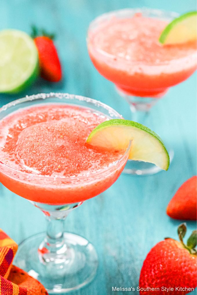 best ever Easy Frozen Strawberry Lime Margaritas in glasses