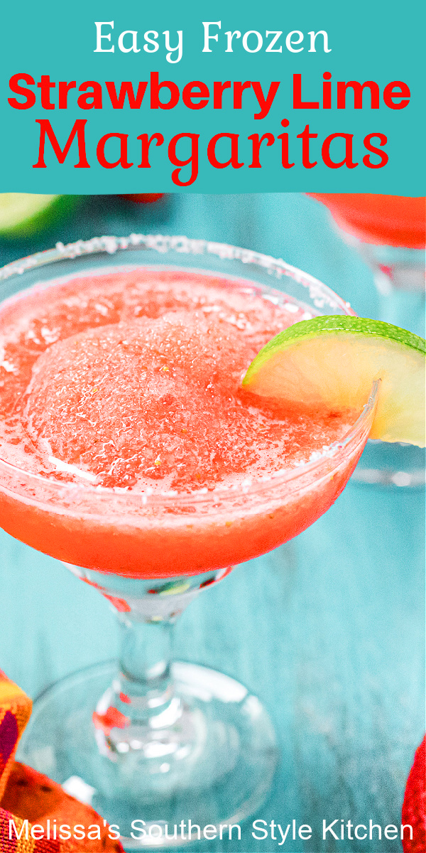 These Easy Frozen Strawberry Lime Margaritas are just the ticket when creating your own fiesta #margaritas #strawberrymargaritas #strawberrylimemargaritas #virginmargaritas #drinks #partyfood