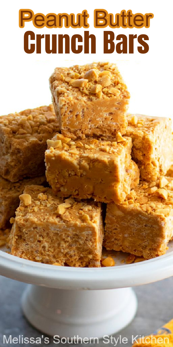 These creamy Peanut Butter Crunch Bars are the kind of homemade candy that you can whip-up in no time flat #peanutbutterbars #peanutbuttercrunchbars #peanutbutter #candy #peanutbuttercandy #easycandyrecipes #holidayrecipes #peanutbuttercandy #southernrecipes