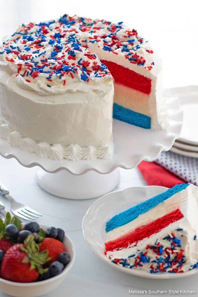 Red White and Blue Ice Cream Cake sliced