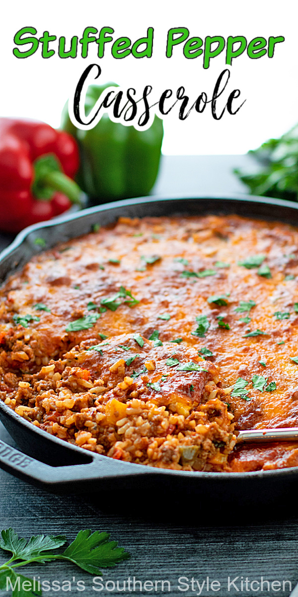 This Stuffed Pepper Casserole features a deconstructed mixture of stuffed pepper deliciousness #stuffedpeppers #stuffedpeppercasserole #casseroles #casserolerecipes #easygroundbeefrecipes