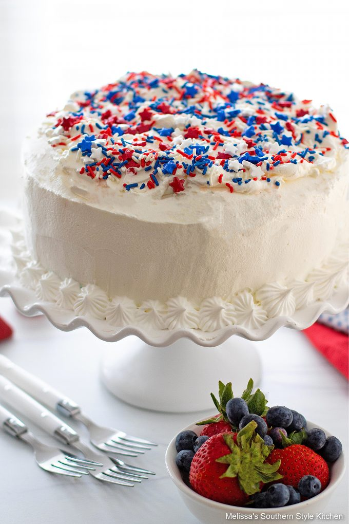 Red White and Blue Ice Cream Cake on a cake stand