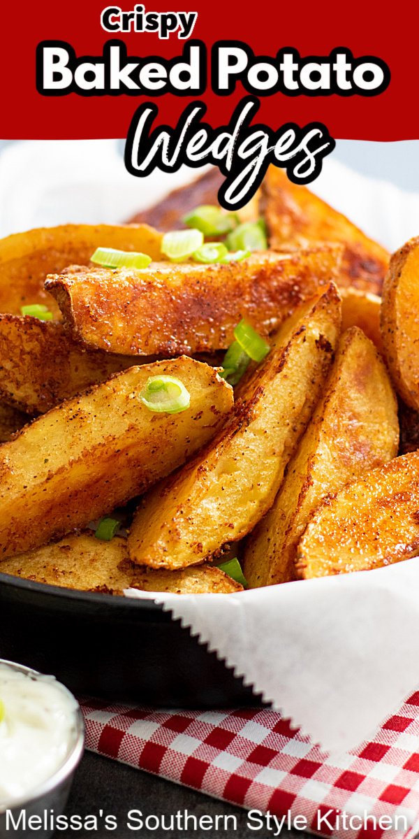 These super easy Crispy Baked Potato Wedges can be served as an appetizer, game day snack or a side dish #crispypotatoes #crispypotatowedges #potatowedges #potatoes #potatorecipes #bakedpotatoes #easysidedishrecipes #easypotatorecipes #southernrecipes