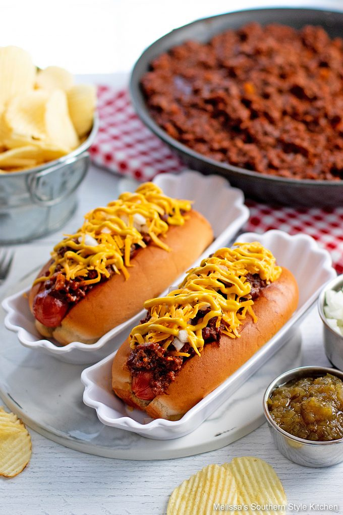 plated hot dogs with chili