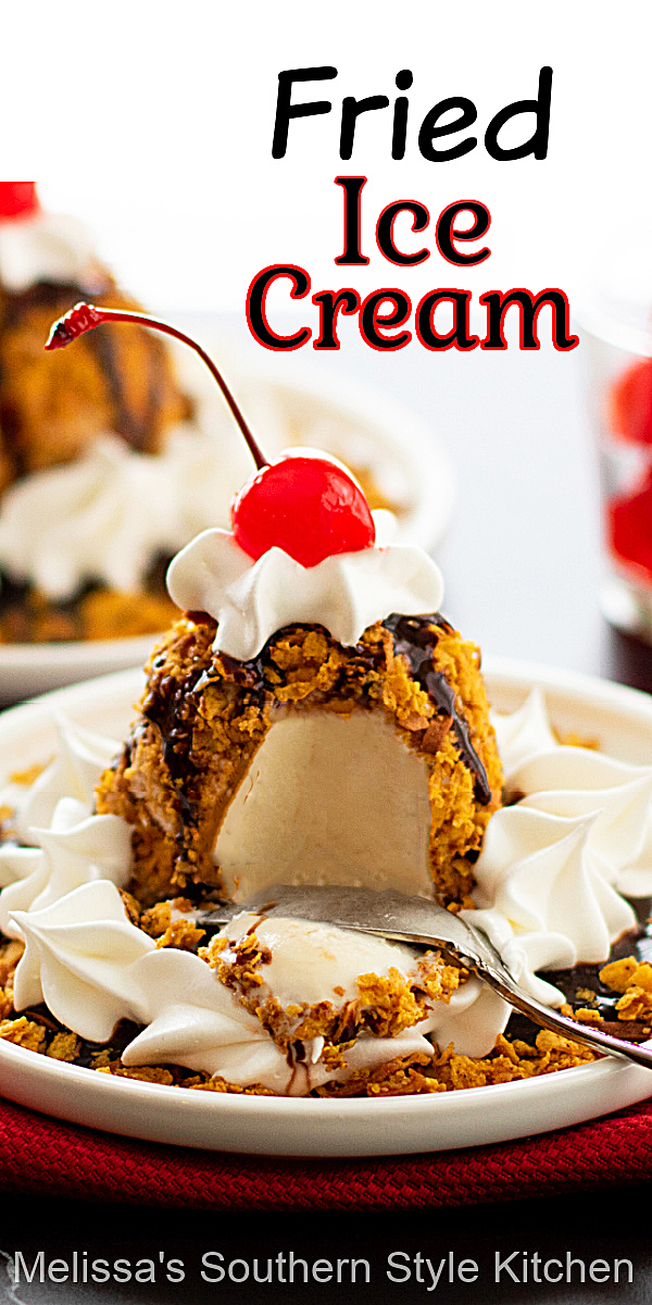 Skip the frying and make this delicious Easy Fried Ice Cream at home #friedicecream #easyfriedicecream #icecreamrecipes #desserts #dessertfoodrecipes #southernrecipes #mexicanfood #icecream