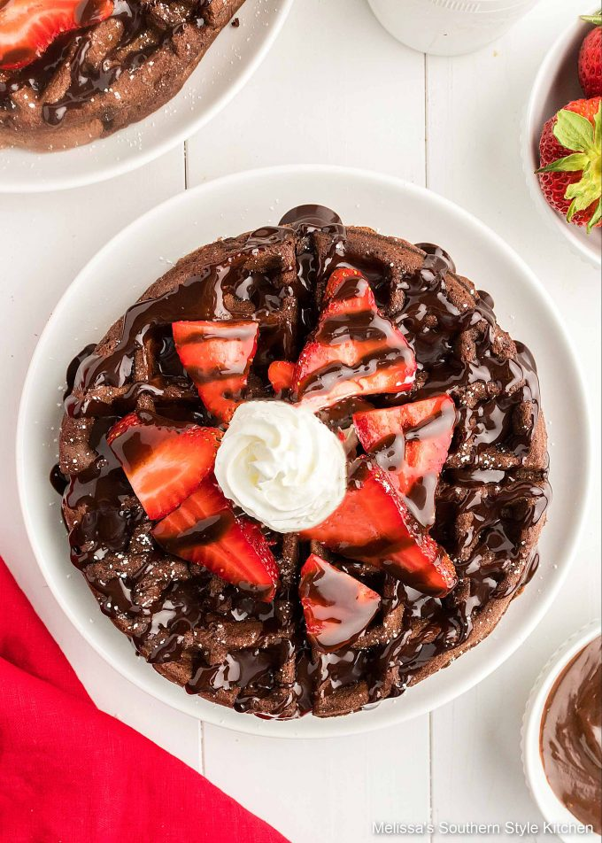 plated Double Chocolate Buttermilk Waffles
