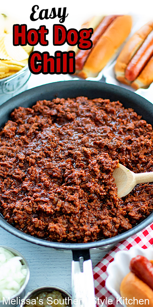 Serve this Easy Hot Dog Chili as a featured topping for hot dogs at your next backyard soiree #easyhotdogchili #chilirecipes #hotdogs #condiments #southernchili #bestchilirecipes #easygroundbeefrecipes #chilidogs #homemadechilirecipe