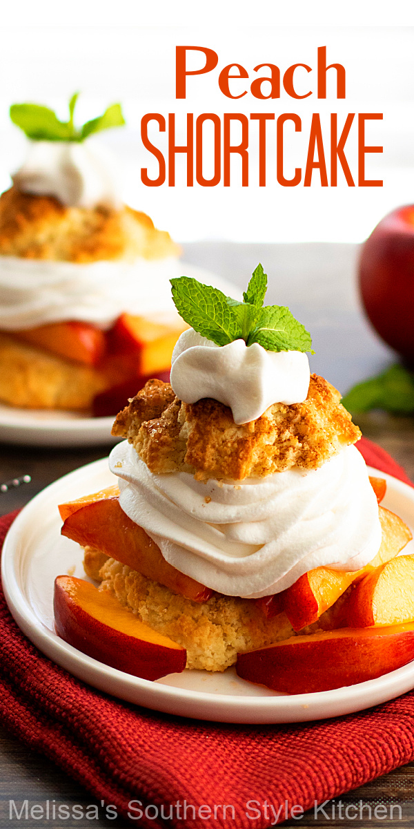 Treat the family to this Peach Shortcake recipe topped with homemade bourbon whipped cream #peachshortcake #peaches #peachrecipes #peachdesserts #shortcakes #southerndesserts #southernrecipes