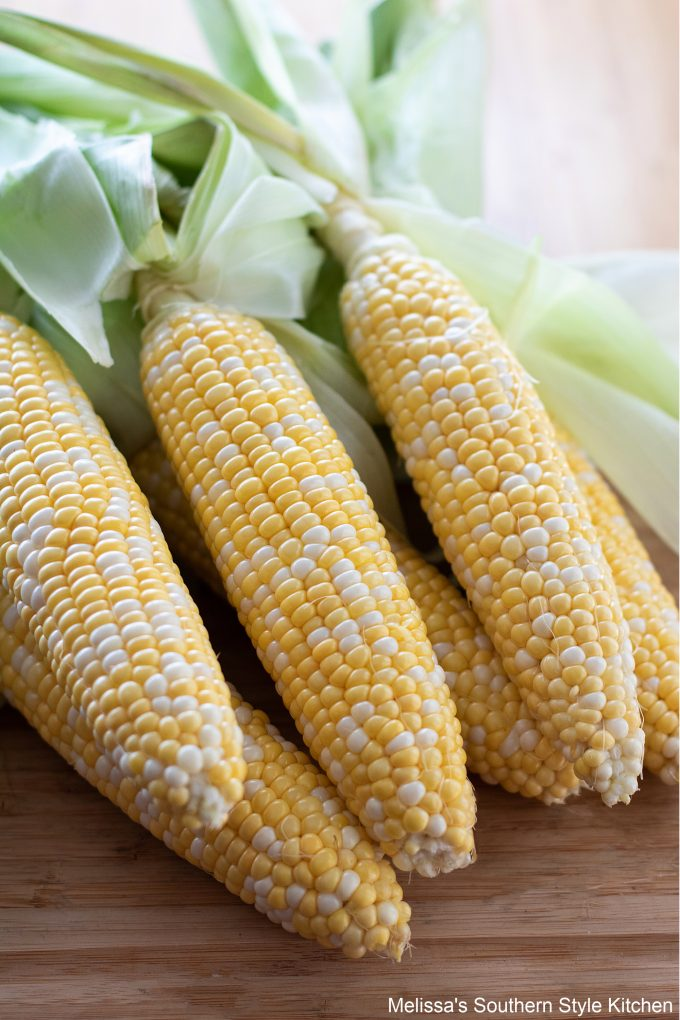 cleaned corn ready for grilling
