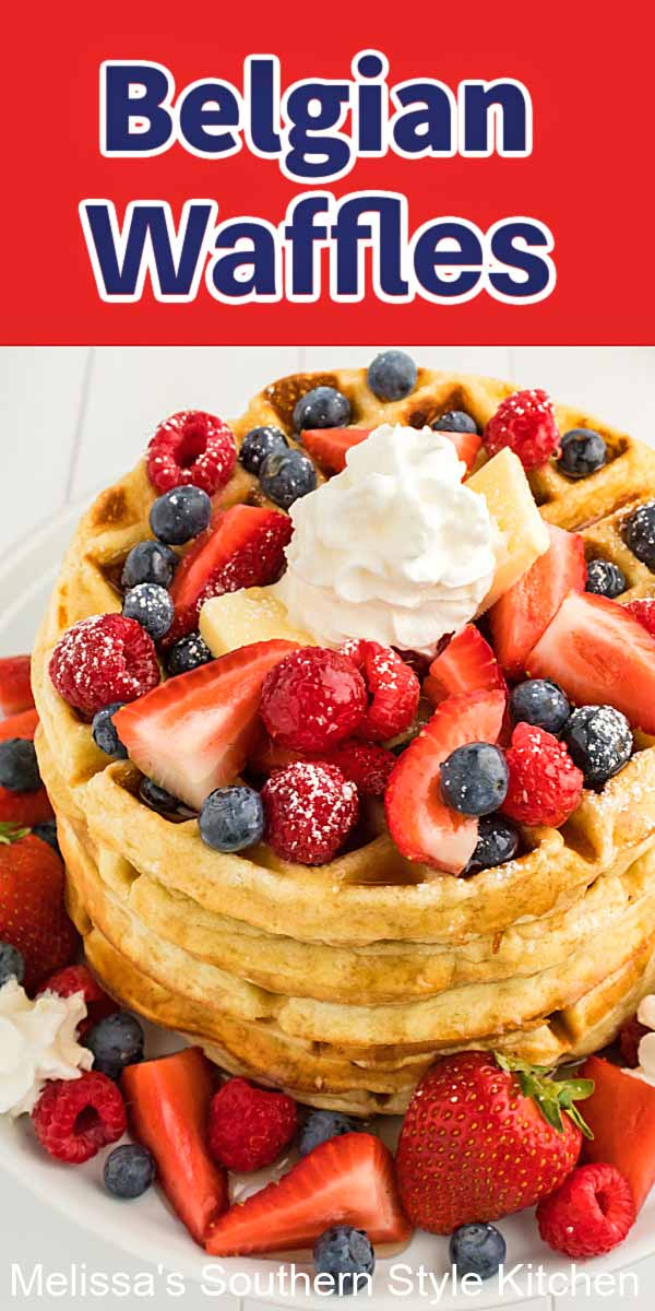 This Belgian Waffles Recipe is a stellar option for weekend breakfasts, holiday brunch or dessert topped with whipped cream and berries #waffles #belgianwaffles #wafflerecipes #holidaybrunch #breakfast #brunchrecipes