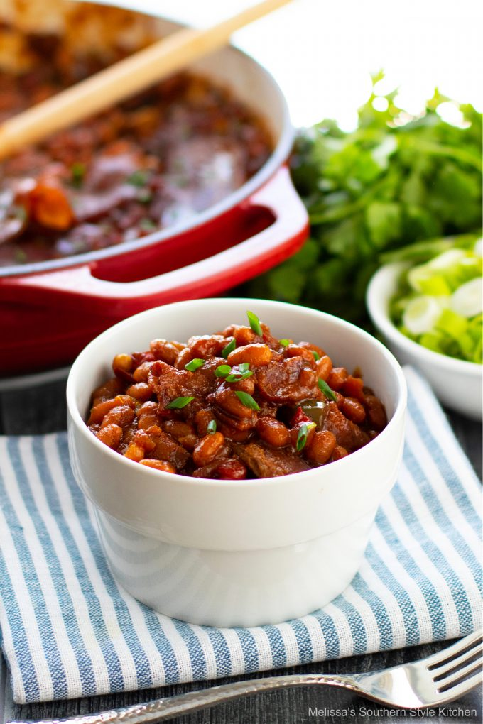 plated Homemade Baked Beans in a white bowl