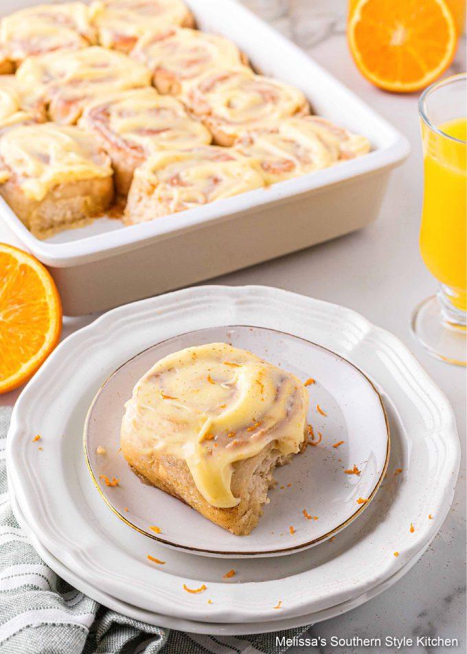plated Orange Cinnamon Rolls