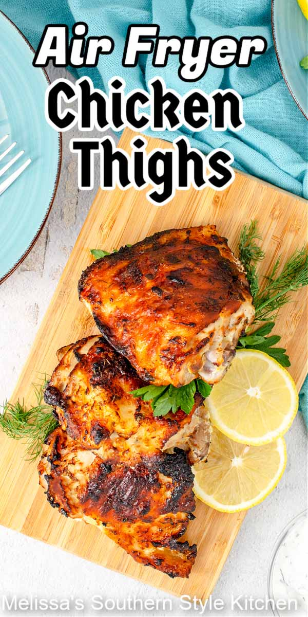 These yogurt marinated Air Fryer Chicken Thighs are seasoned with lemon and dill for the perfect finish to this crispy on the outside, tender on the inside chicken #airfryerrecipes #airfryerchicken #airfryerchickenthighs #yogurtchicken #marinatedchicken #chickenrecipes #chickenthighs