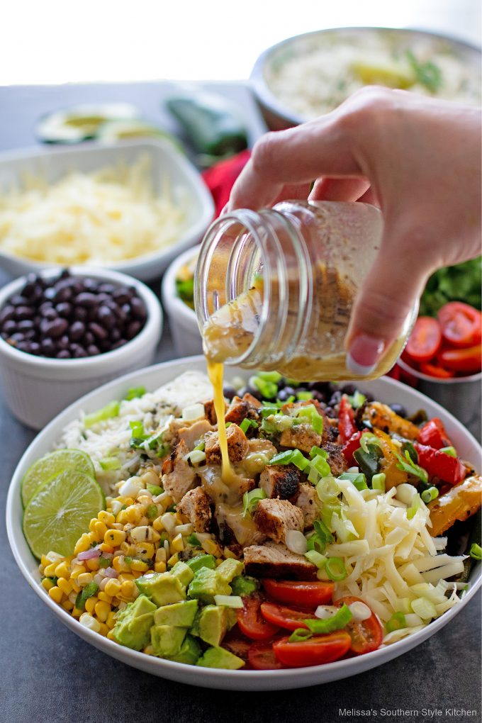 Chicken Burrito Bowls with honey lime vinaigrette