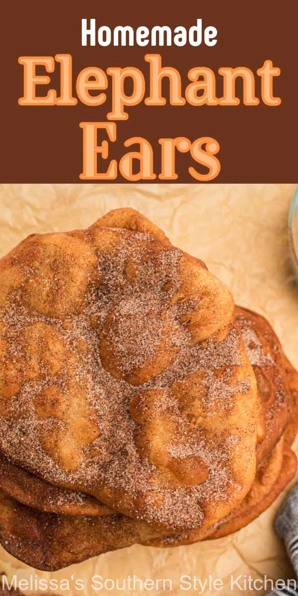 Cinnamon sugar coated Elephant Ears are a vintage street food pastry that are impossible to resist! #elephantearsrecipe #beststreetfooddesserts #dessertfoodrecipes #desserts #cinnamonsugar #pastryrecipes #fairfood #gamedaydesserts