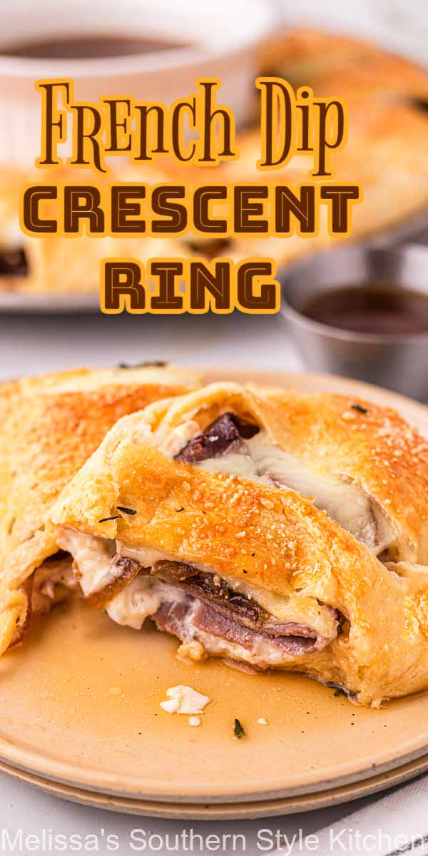 Serve French dips in an unexpected way with this French Dip Crescent Ring topped caramelized onions and au jus for dipping #frenchdips #roastbeef #frenchdiprecipes #crescentrings #crescentrolls #crescentrollrecipes #southernstyle #appetizers #gamedayrecipes