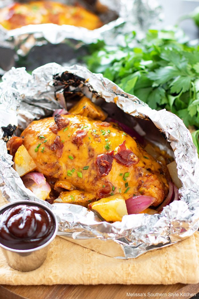 baked Barbecue Chicken and Potato Foil Packs