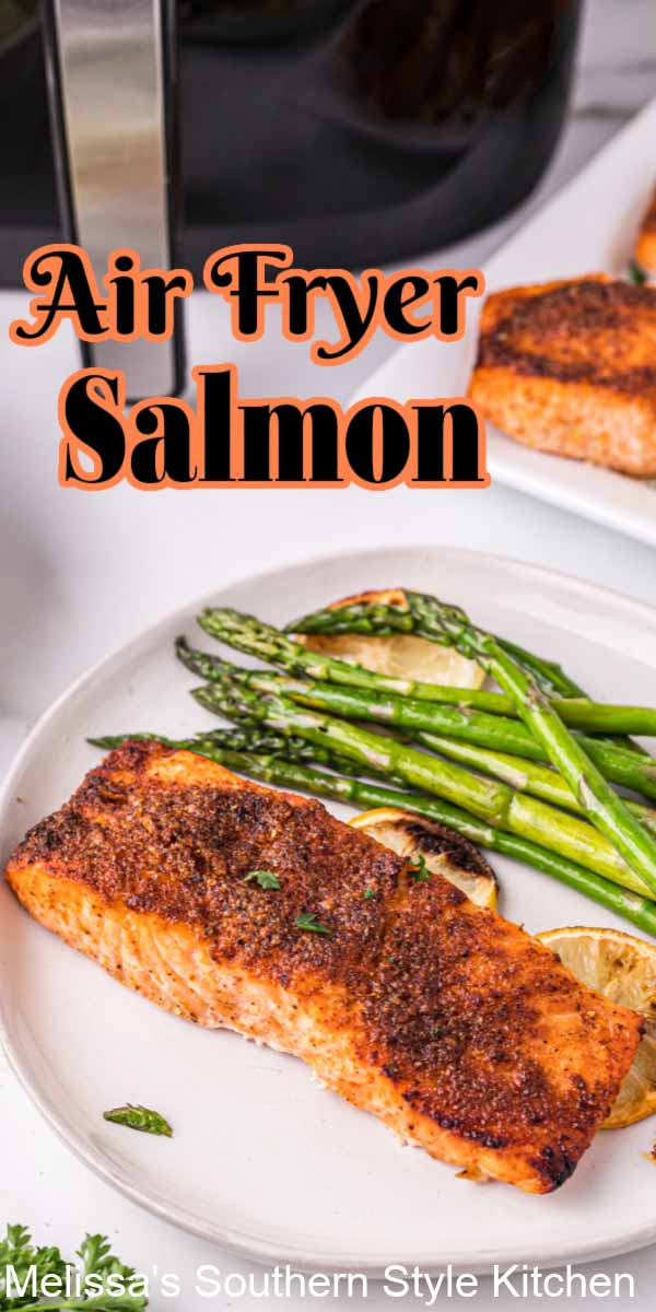 This Cajun Seasoned Air Fryer Salmon features hints of lemon that complements the salmon and keeps the flavor light and fresh #salmonrecipes #airfryerrecipes #airfryersalmon #creolesalmon #cajunsalmon #seafoodrecipes #southernstyle #southernrecipes