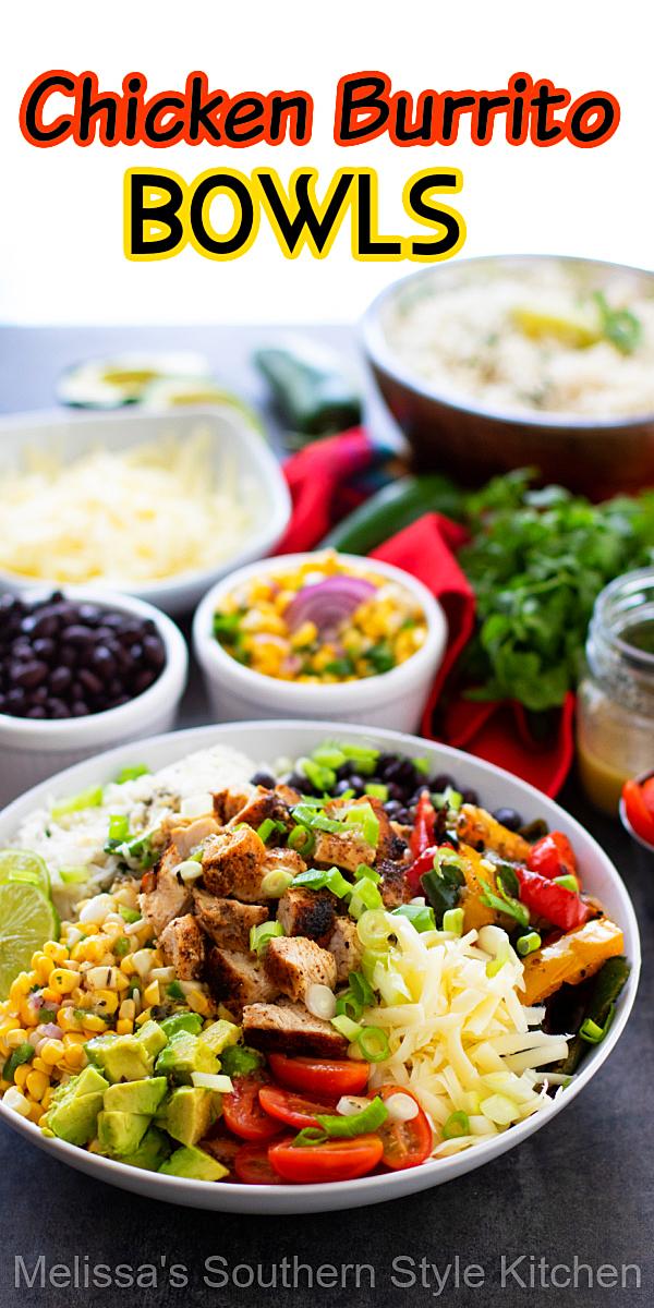 Save money and build your own Chicken Burrito Bowls at home #chickenrecipes #chickenburritobowls #burritos #mexicanfood #easyrecipes #cilantrolimerice #ricerecipes #burritobar #grilledchicken #easychickenbreastrecipes