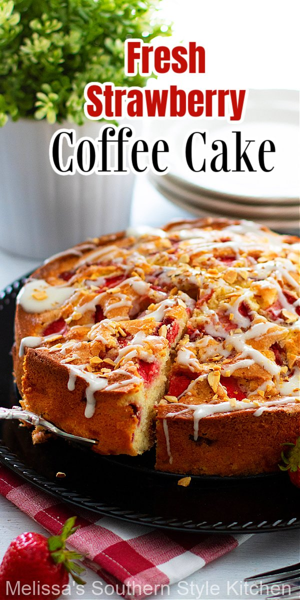 This Fresh Strawberry Coffee Cake features slices of sweet strawberries baked in a scratch made batter and drizzled with a creamy glaze #straberrycoffeecake #strawberries #strawberrycake #strawberryrecipes #strawberries #cakes #cakerecipes
