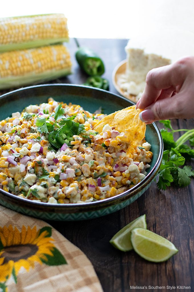 dipping Mexican Street Corn Salad