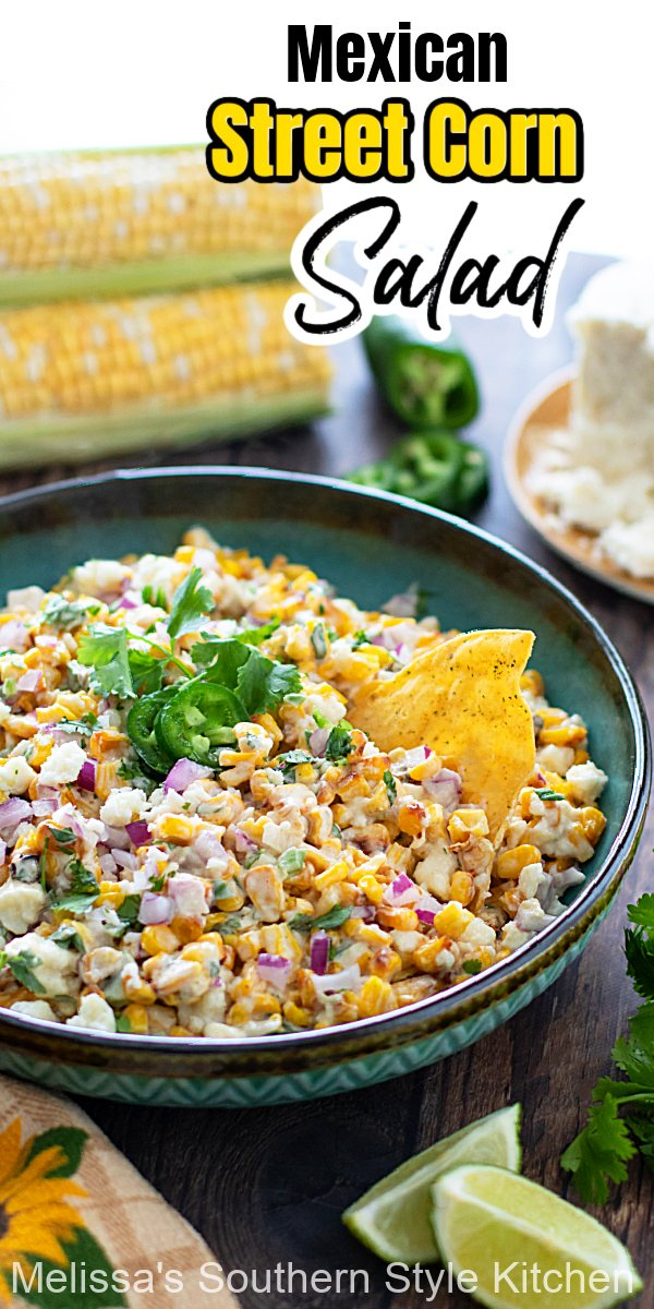 This Mexican Street Corn Salad can be used as a condiment for burrito bowls, salads or tacos and with tortilla chips for dipping #mexicanfood #mexicanstreetcorn #mexicanstreetcornsalad #cornsalad #freshcornrecipes #cornonthecob