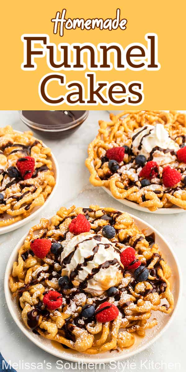 Treat the family to crispy Homemade Funnel Cakes dusted with powdered sugar, drizzled with syrup or topped with whipped cream and berries #funnelcakes #funnelcakerecipes #funnelcakes #southernstyle #southerndesserts #desserts #dessertfoodrecipes #fairfood #streetfood