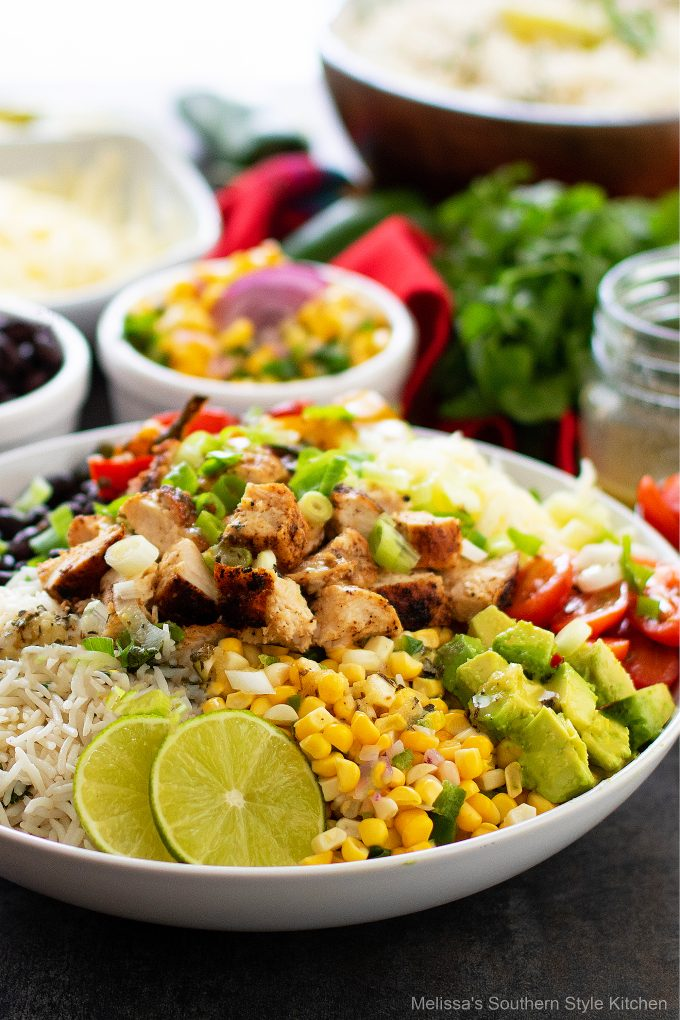 plated how to make a Chicken Burrito Bowls