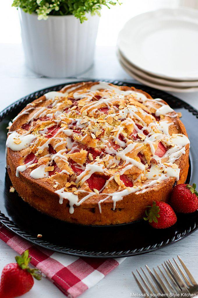 plated Fresh Strawberry Coffee Cake