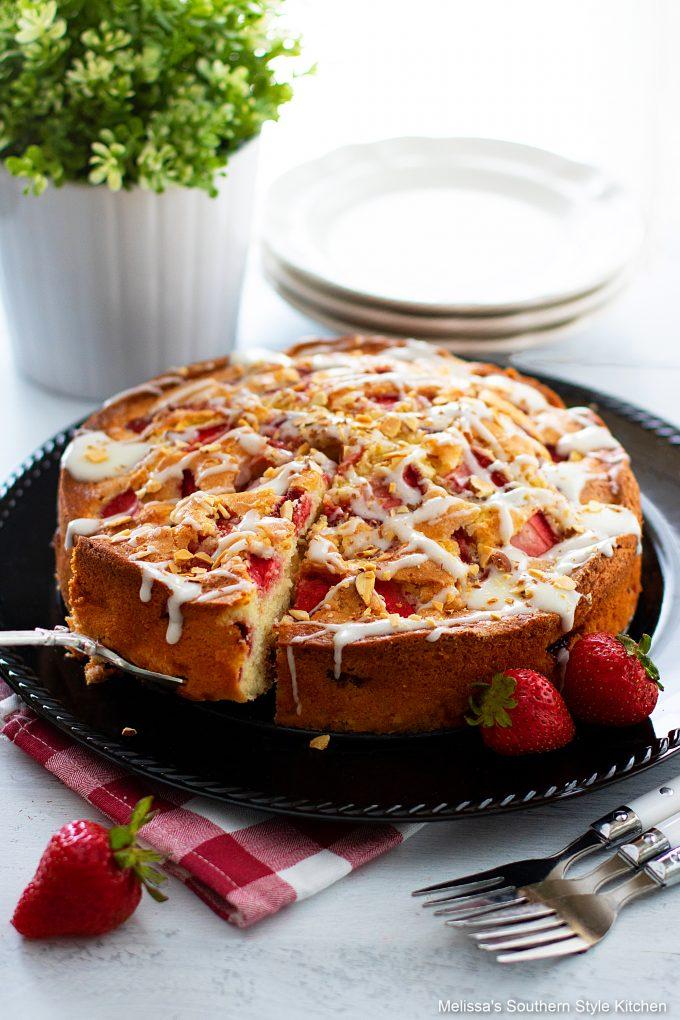 sliced sliced Fresh Strawberry Coffee Cake