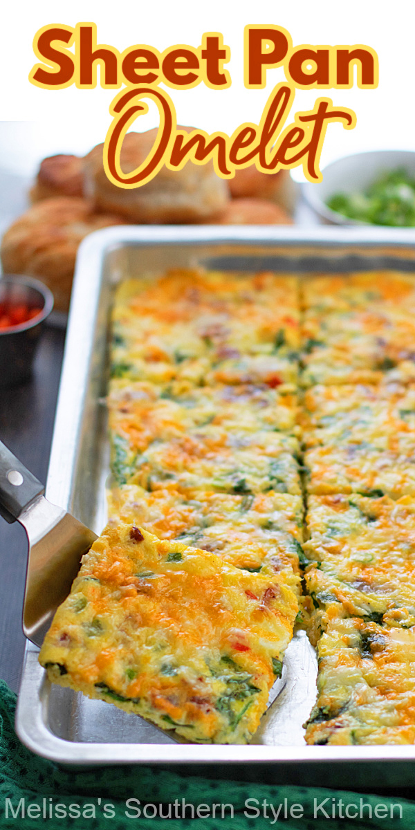 This Sheet Pan Omelet is an efficient way to meal prep breakfast for the week or cook omelets for a crowd in one fell swoop #sheetpanomelet #bakedomelet #omeletrecipes #breakfast #brunch #mealpreprecipes #ovenomelet #omeletrecipes