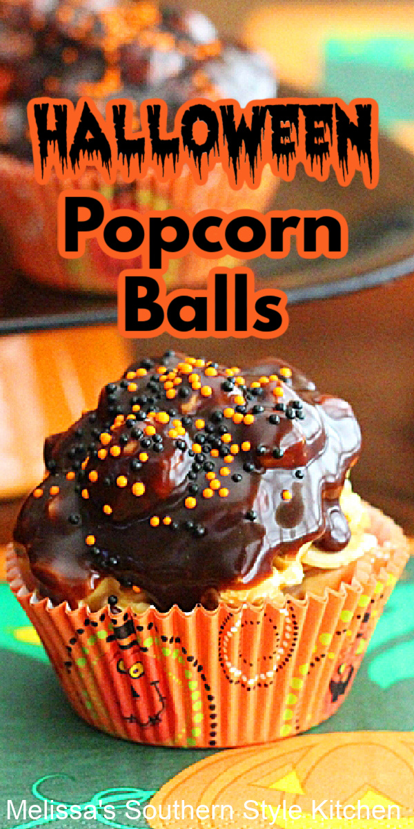 These festive Halloween Popcorn Balls will make a delicious addition to your snack menu for this year's monster mash #popcornballs #caramelpopcorn #popcornrecipes #halloweendesserts #halloweenrecipes #caramel #popcorn