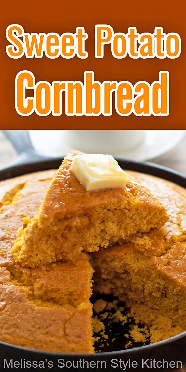 This Sweet Potato Cornbread is the perfect side dish to serve alongside soup, chili or a simple bowl of pinto beans #sweetpotatocornbread #sweetpotatoes #sweetpotatorecipes #cornbread #southerncornbread #cornbreadrecipes