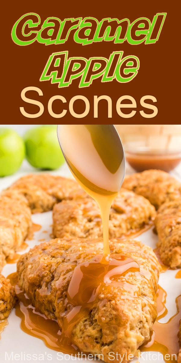 These Caramel Apple Scones topped with a sprinkling of turbinado sugar and a drizzle of caramel, are certain to be the star of your brunch table #apples #applescones #caramelapples #appledesserts #fallbaking #caramelapplescones