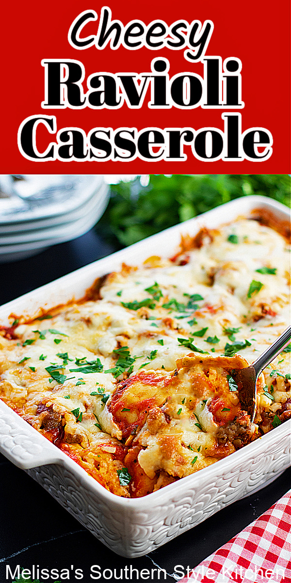 This easy layered Ravioli Casserole Recipe is simple enough for weekday dinner, yet impressive enough for entertaining #ravioli #raviolicasserole #casseroles #pasta #fourcheeseravioli #easycasserolerecipes #pastacasseroles #fourcheeseraviolirecipe #cheeseravioli
