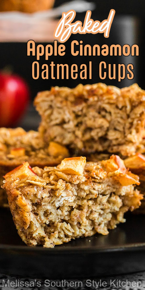 Bakr a batch of these Apple Cinnamon Baked Oatmeal Cups for single servings breakfasts and meal prep #oatmealcups #applecinnamonoatmeal #oatmealrecipes #bakedoatmeal #oatmeal #oatmealmuffins #apples #fallbaking #