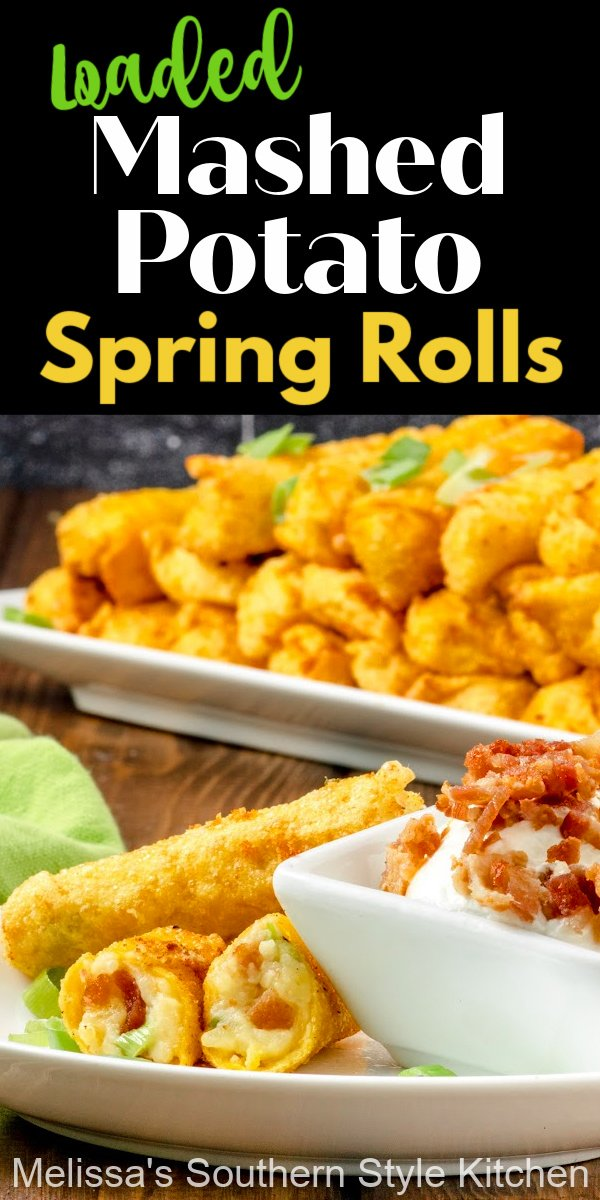 These crispy Loaded Mashed Potato Spring Rolls are a next level option to add to your appetizer menu served with sour cream for dipping #springrolls #wontons #wontonwrappers #loadedmashedpotatoes #mashedpotatorecipes #loadedmashedpotatospringrolls #springrolls