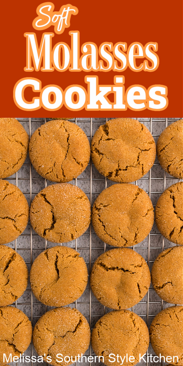These crackled soft Molasses Cookies are simply heavenly with a cup of coffee or a tall glass of cold milk #molassescookies #gingercookies #cookierecipes #fallbaking #christmascookies #easymolassescookies #easycookies